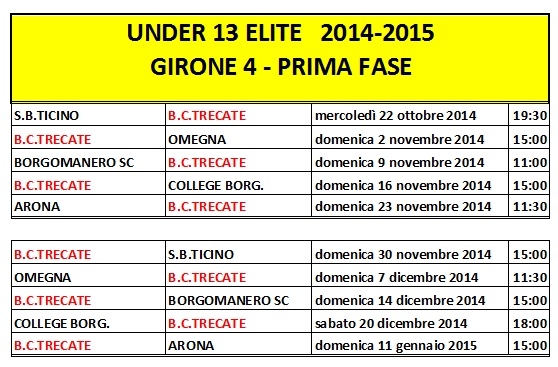 Calendario Anno 2014.Calendario Trecate Basket Club