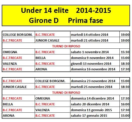 Calendario Anno 2015.Calendario Trecate Basket Club