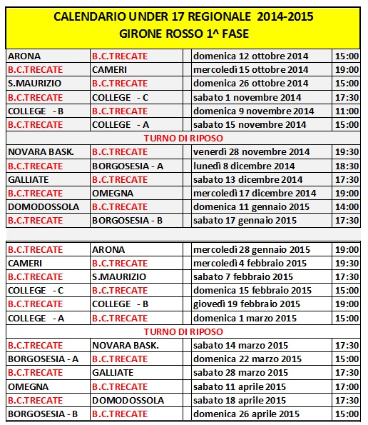 Calendario Under 17.Calendario Trecate Basket Club